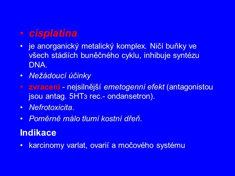 cisplatina je anorganický metalický komplex. Ničí buňky ve všech stádiích buněčného cyklu, inhibuje syntézu DNA.