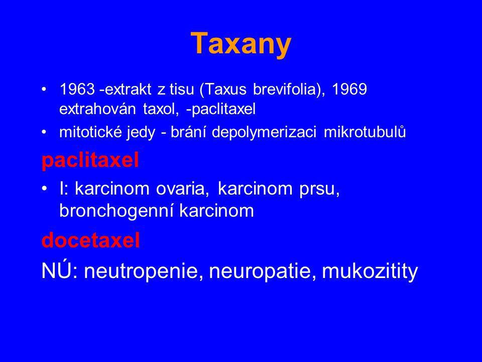 Taxany paclitaxel docetaxel NÚ: neutropenie, neuropatie, mukozitity