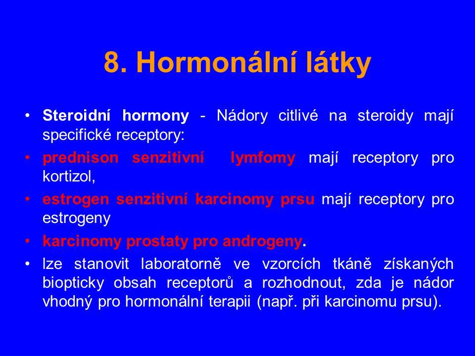 8. Hormonální látky Steroidní hormony - Nádory citlivé na steroidy mají specifické receptory: