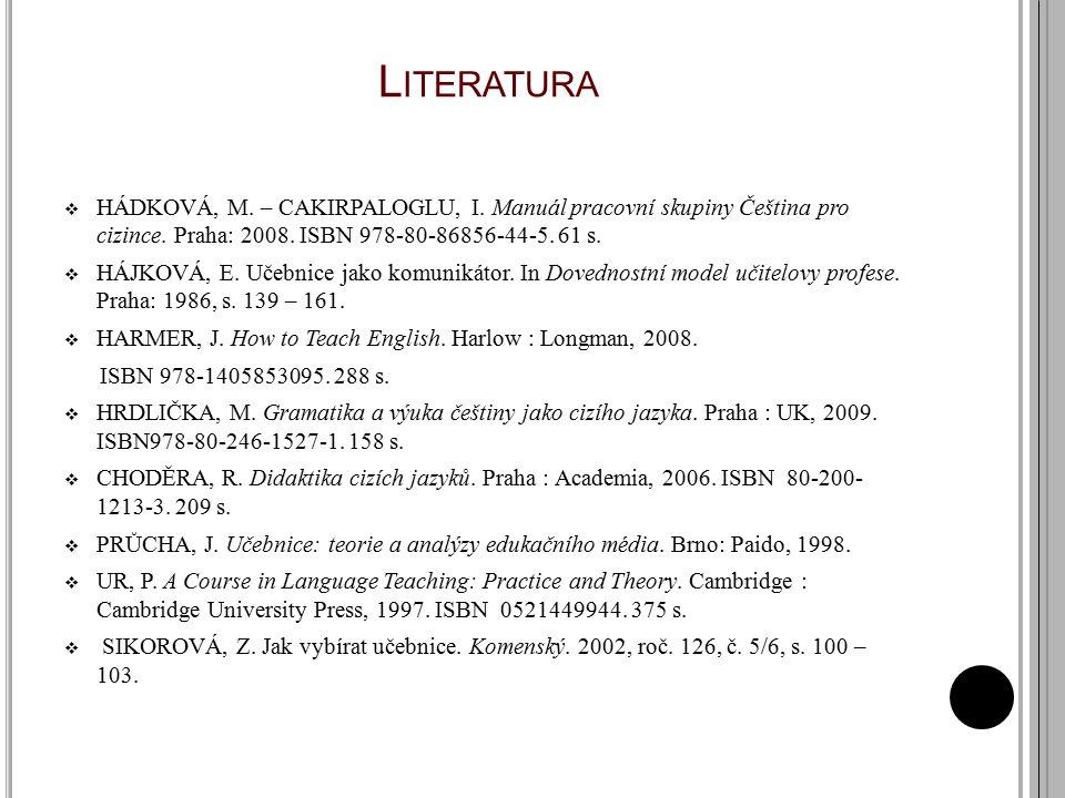 Literatura HÁDKOVÁ, M. – CAKIRPALOGLU, I. Manuál pracovní skupiny Čeština pro cizince. Praha: 2008. ISBN 978-80-86856-44-5. 61 s.