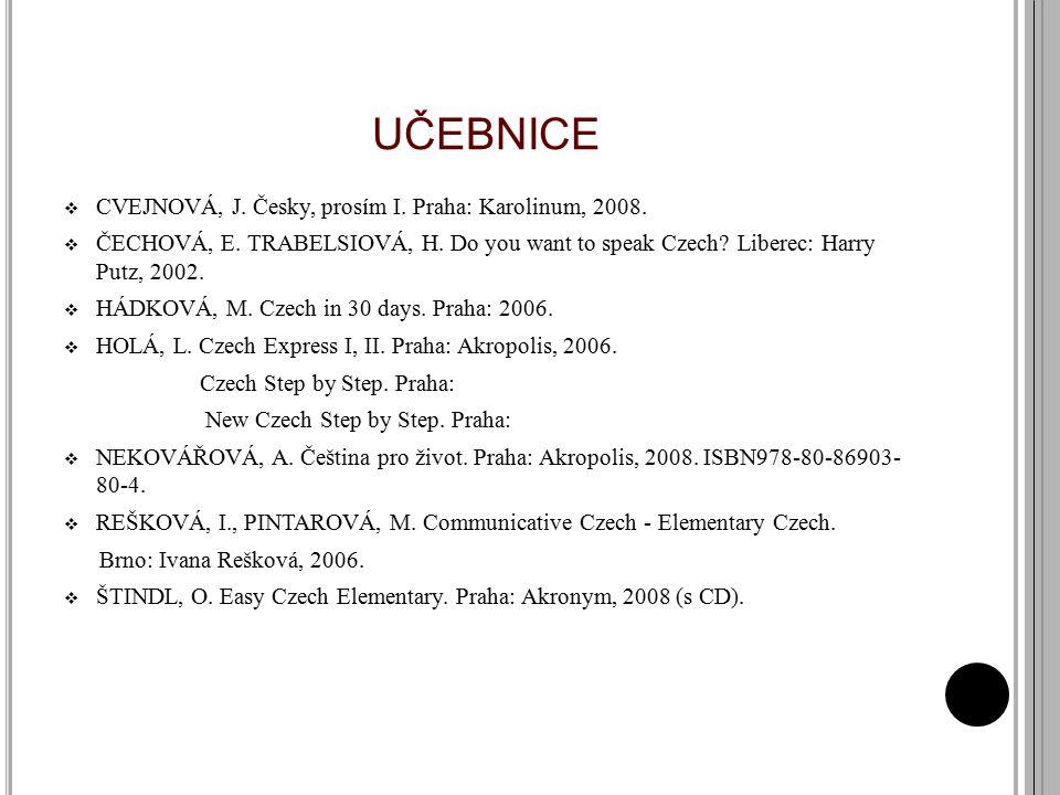 UČEBNICE CVEJNOVÁ, J. Česky, prosím I. Praha: Karolinum, 2008.