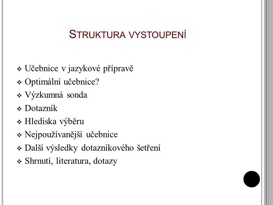 Struktura vystoupení Učebnice v jazykové přípravě Optimální učebnice