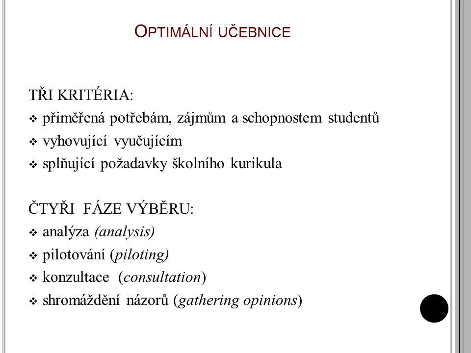 Optimální učebnice TŘI KRITÉRIA: