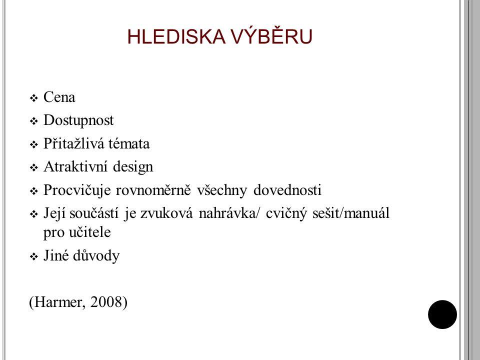 HLEDISKA VÝBĚRU Cena Dostupnost Přitažlivá témata Atraktivní design