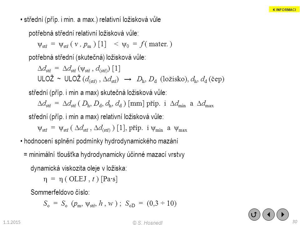• střední (příp. i min. a max.) relativní ložisková vůle