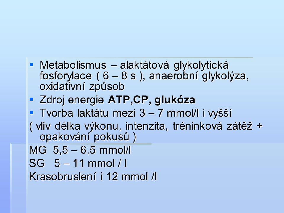 Metabolismus – alaktátová glykolytická fosforylace ( 6 – 8 s ), anaerobní glykolýza, oxidativní způsob