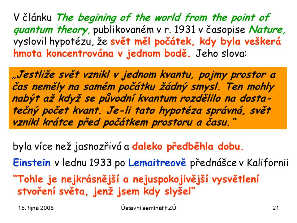 V článku The begining of the world from the point of