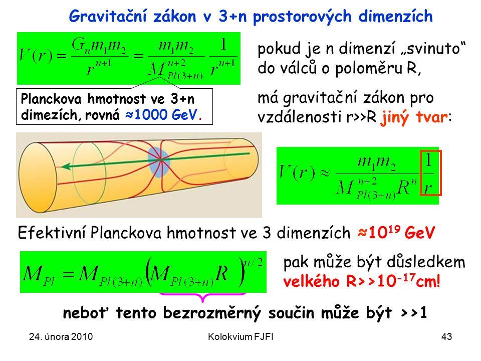 Gravitační zákon v 3+n prostorových dimenzích