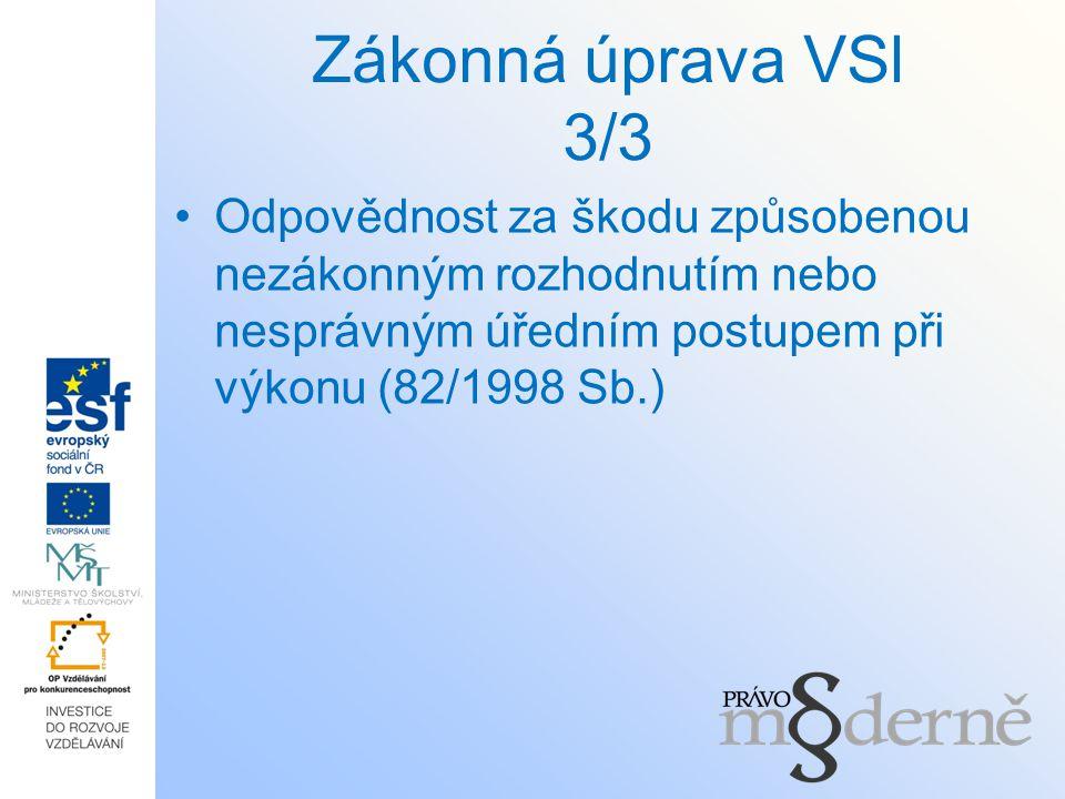Zákonná úprava VSl 3/3 Odpovědnost za škodu způsobenou nezákonným rozhodnutím nebo nesprávným úředním postupem při výkonu (82/1998 Sb.)