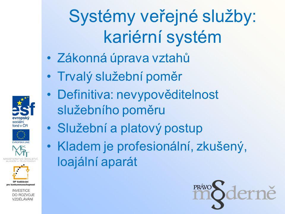 Systémy veřejné služby: kariérní systém