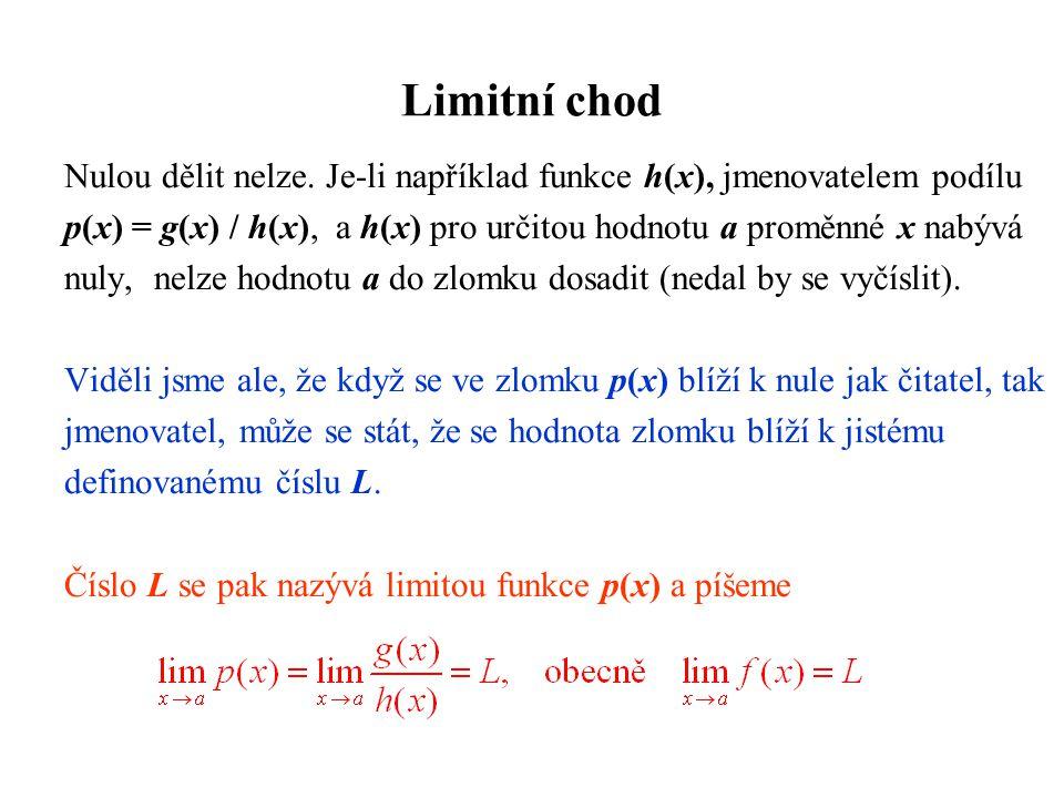 Limitní chod Nulou dělit nelze. Je-li například funkce h(x), jmenovatelem podílu.