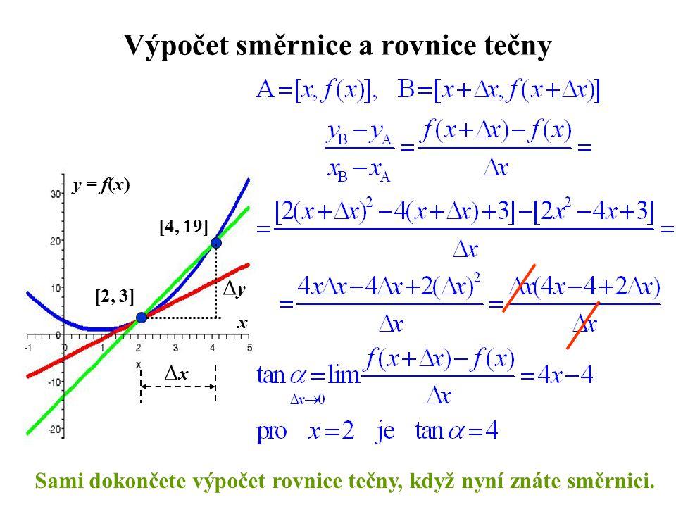 Výpočet směrnice a rovnice tečny
