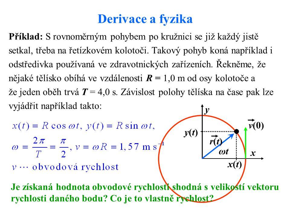 Derivace a fyzika Příklad: S rovnoměrným pohybem po kružnici se již každý jistě. setkal, třeba na řetízkovém kolotoči. Takový pohyb koná například i.