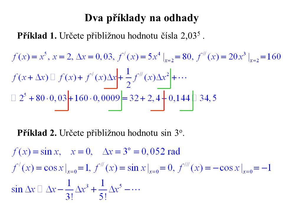 Dva příklady na odhady Příklad 1. Určete přibližnou hodnotu čísla 2,035 .
