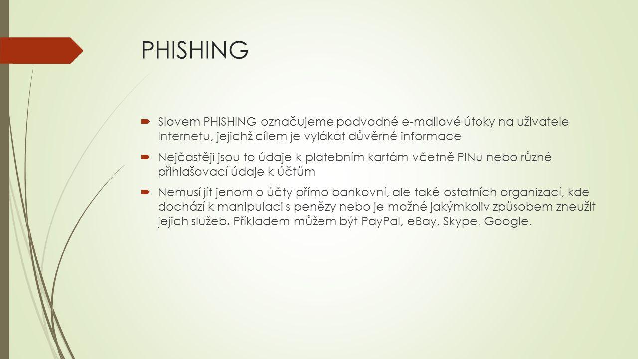 PHISHING Slovem PHISHING označujeme podvodné e-mailové útoky na uživatele Internetu, jejichž cílem je vylákat důvěrné informace.
