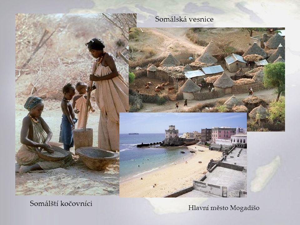 Somálská vesnice Somálští kočovníci Hlavní město Mogadišo