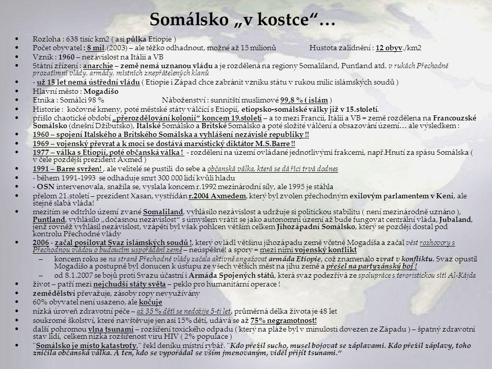 """Somálsko """"v kostce … Rozloha : 638 tisíc km2 ( asi půlka Etiopie )"""