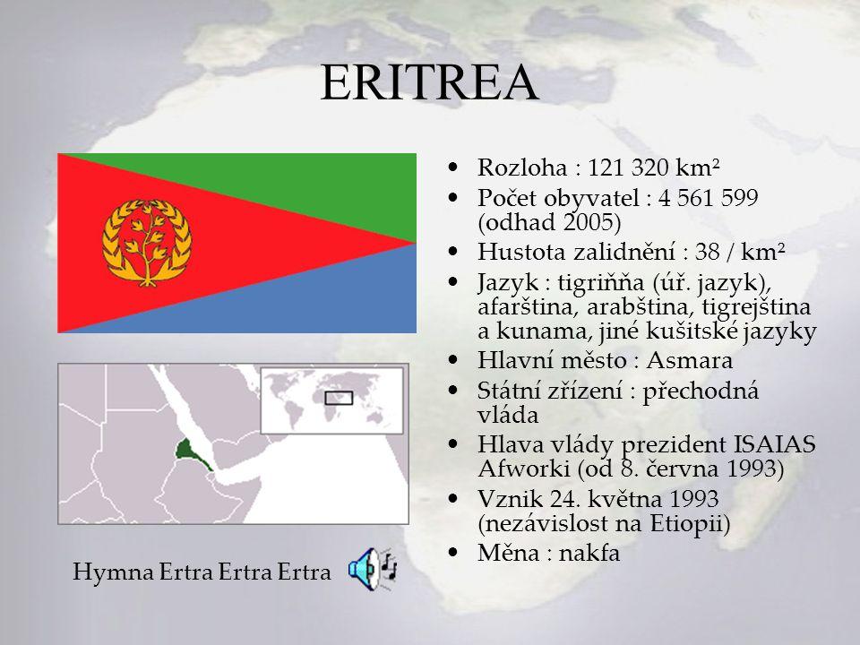 ERITREA Rozloha : 121 320 km² Počet obyvatel : 4 561 599 (odhad 2005)
