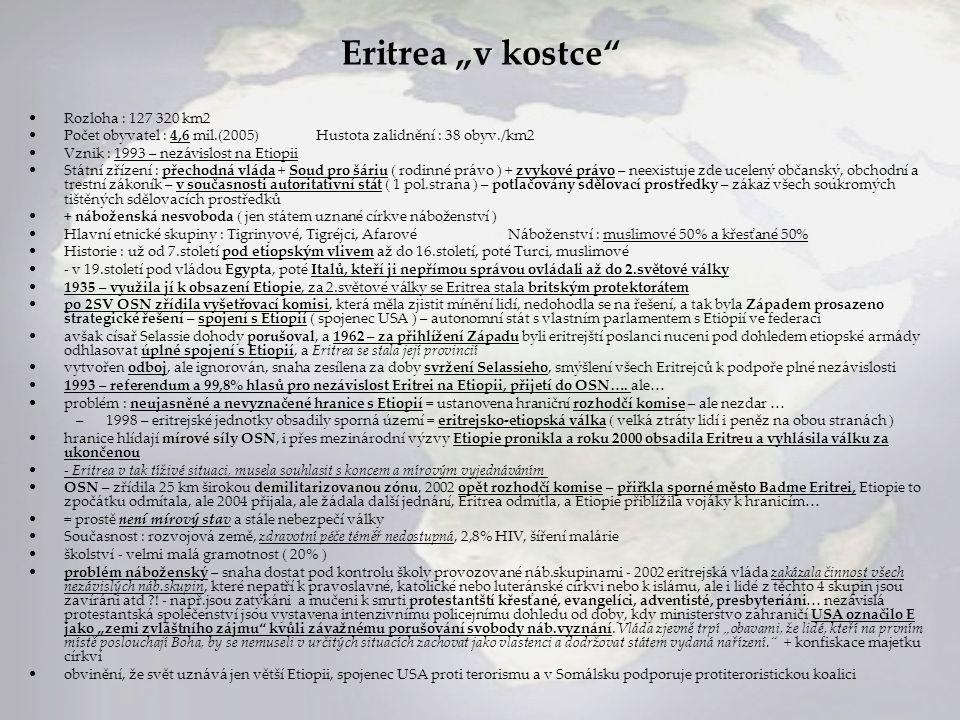 "Eritrea ""v kostce Rozloha : 127 320 km2"