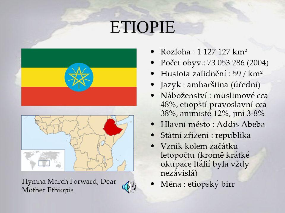 ETIOPIE Rozloha : 1 127 127 km² Počet obyv.: 73 053 286 (2004)