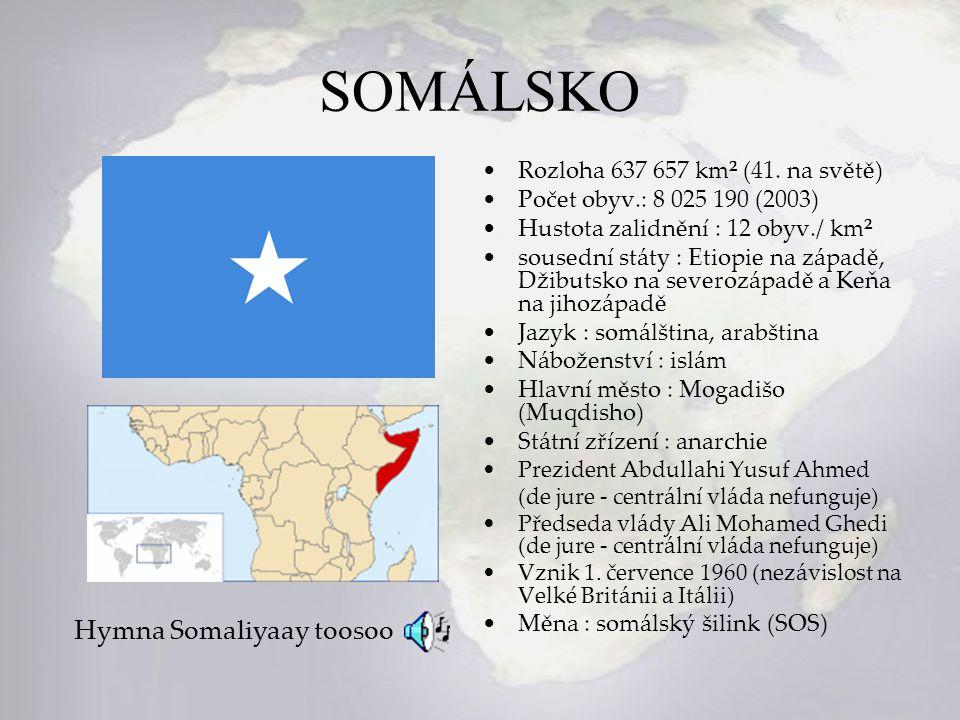 SOMÁLSKO Hymna Somaliyaay toosoo Rozloha 637 657 km² (41. na světě)