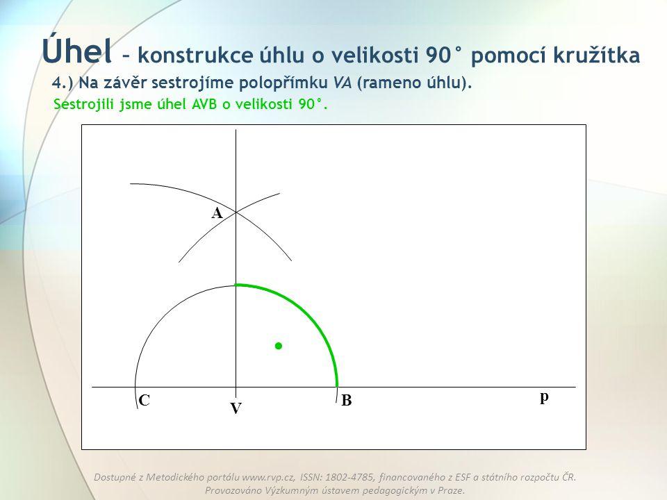 Úhel – konstrukce úhlu o velikosti 90° pomocí kružítka