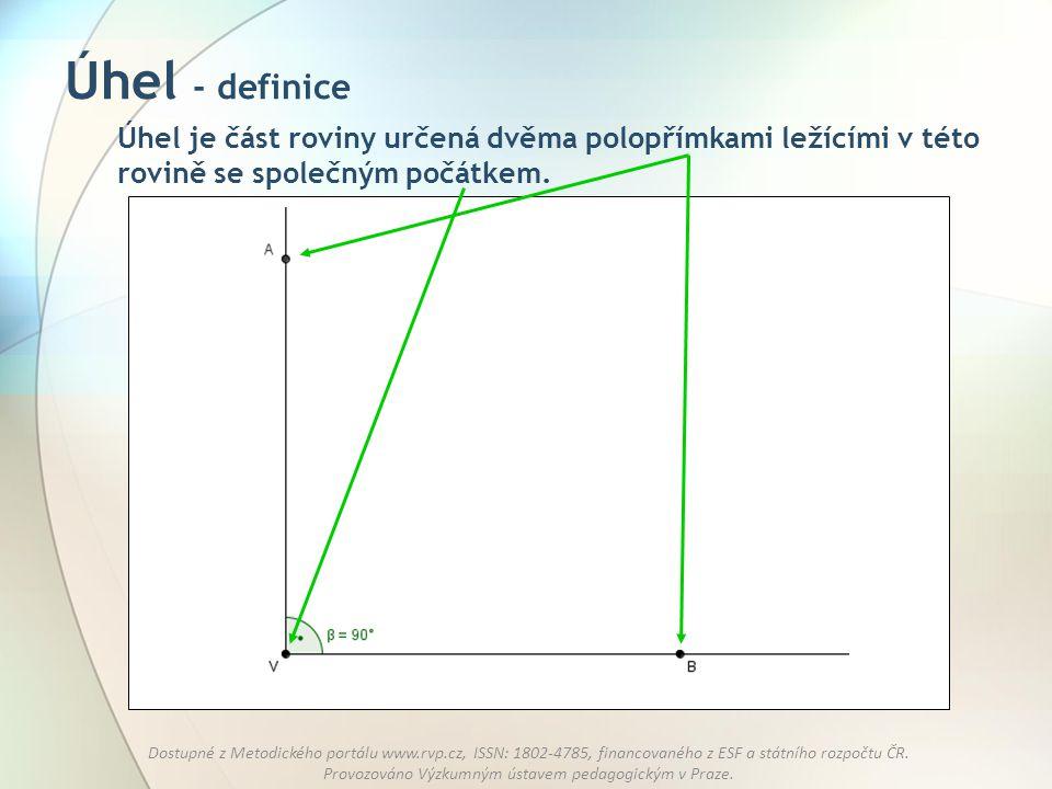 Úhel - definice Úhel je část roviny určená dvěma polopřímkami ležícími v této rovině se společným počátkem.