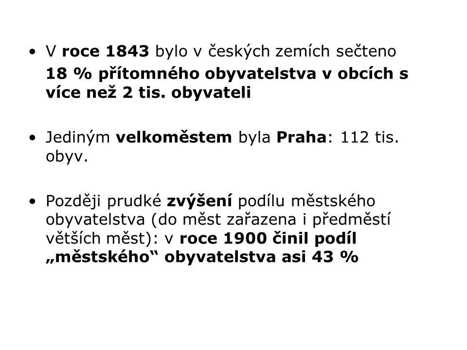 V roce 1843 bylo v českých zemích sečteno