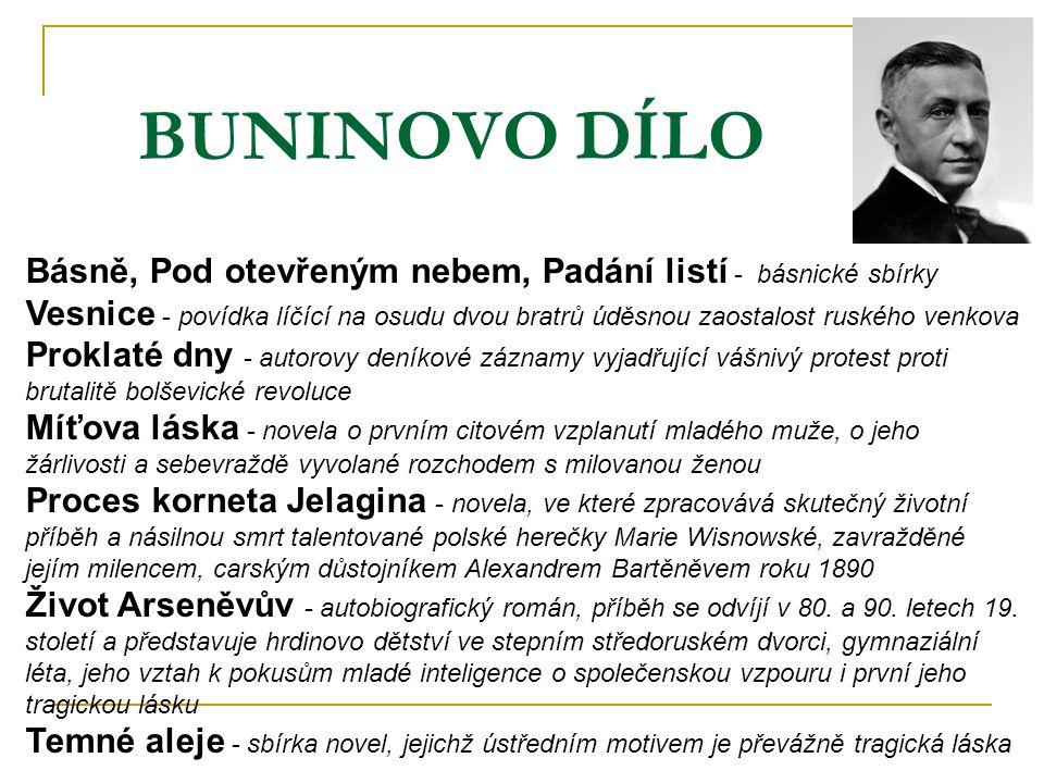BUNINOVO DÍLO Básně, Pod otevřeným nebem, Padání listí - básnické sbírky.