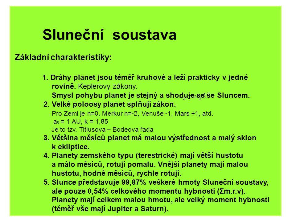Sluneční soustava Základní charakteristiky: