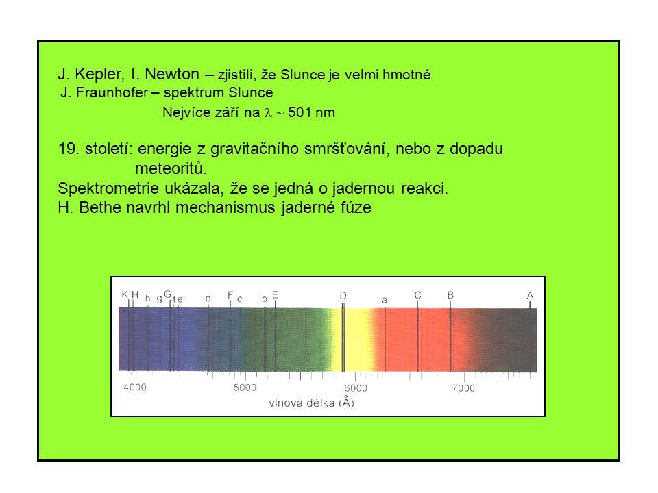 J. Kepler, I. Newton – zjistili, že Slunce je velmi hmotné