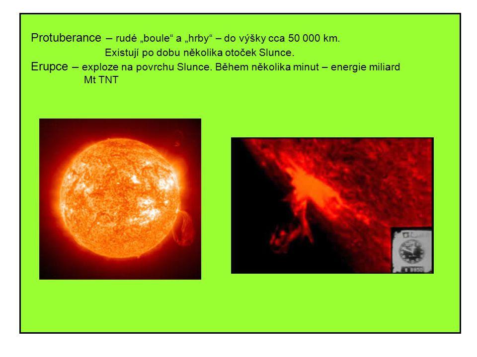 """Protuberance – rudé """"boule a """"hrby – do výšky cca 50 000 km."""
