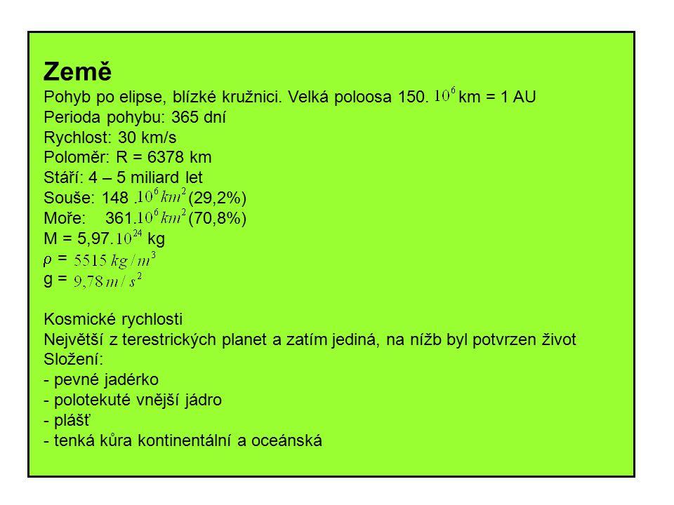 Země Pohyb po elipse, blízké kružnici. Velká poloosa 150. km = 1 AU. Perioda pohybu: 365 dní.