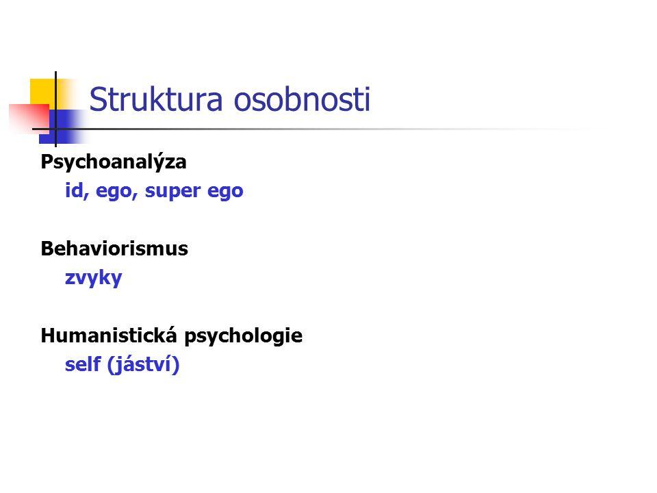 Struktura osobnosti Psychoanalýza id, ego, super ego Behaviorismus
