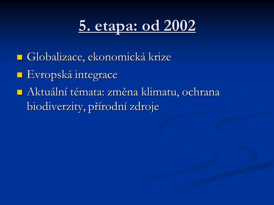 5. etapa: od 2002 Globalizace, ekonomická krize Evropská integrace