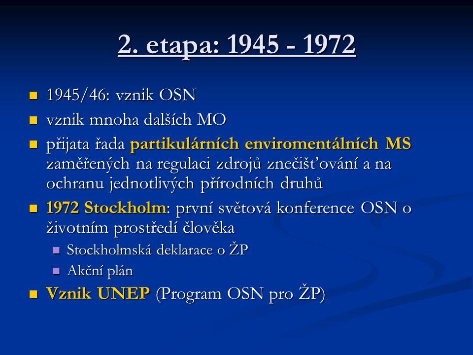 2. etapa: 1945 - 1972 1945/46: vznik OSN vznik mnoha dalších MO
