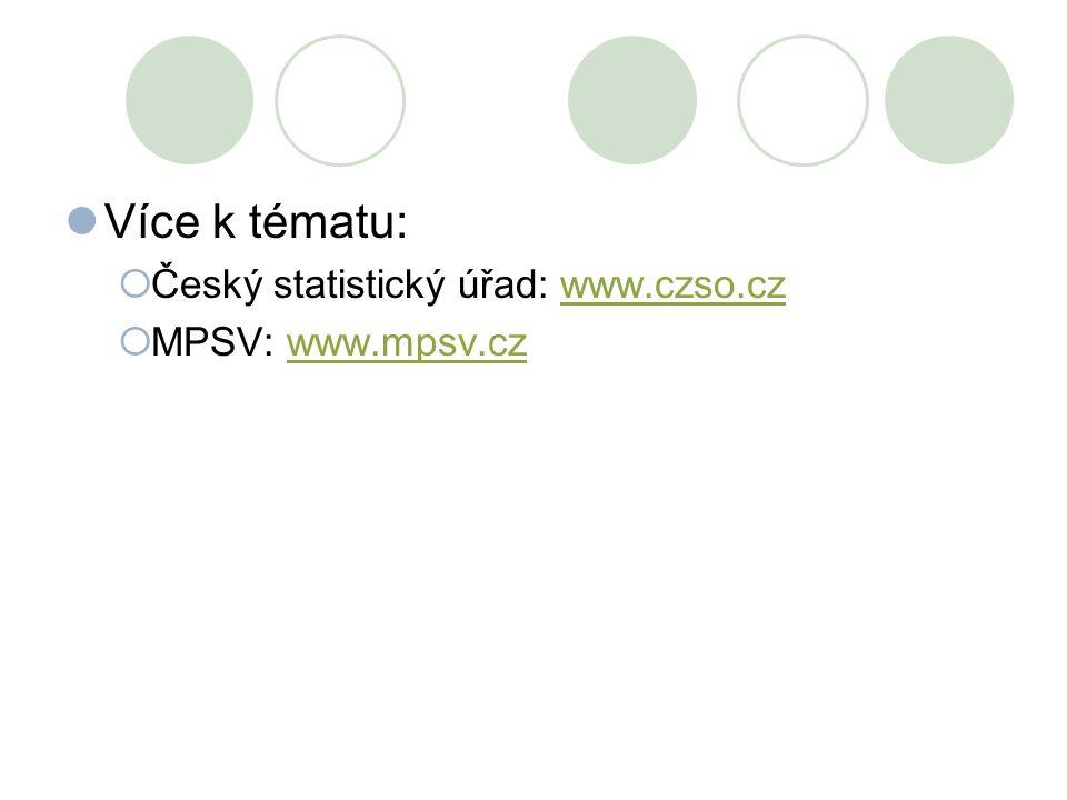 Více k tématu: Český statistický úřad: www.czso.cz MPSV: www.mpsv.cz