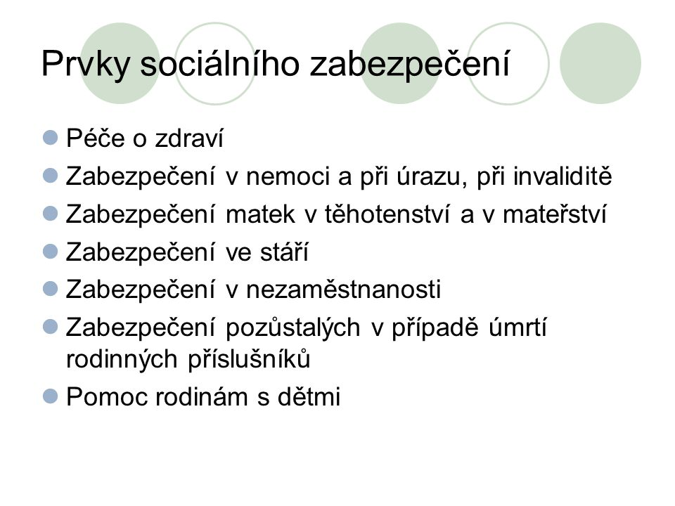 Prvky sociálního zabezpečení