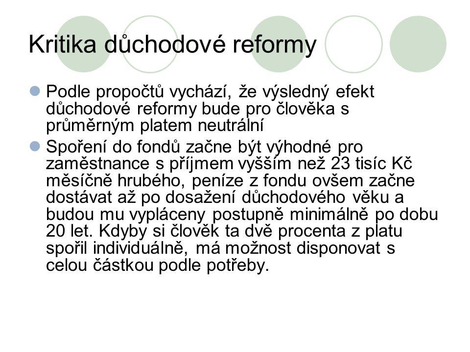 Kritika důchodové reformy