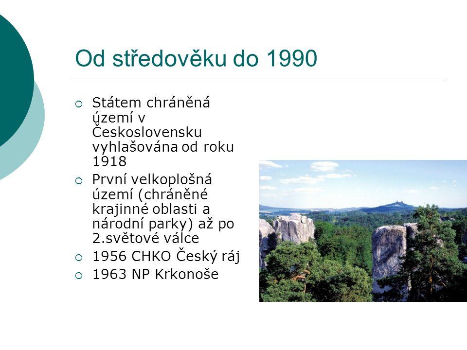 Od středověku do 1990 Státem chráněná území v Československu vyhlašována od roku 1918.