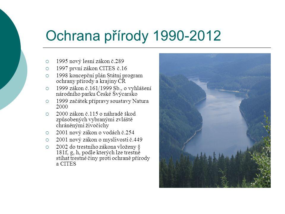 Ochrana přírody 1990-2012 1995 nový lesní zákon č.289