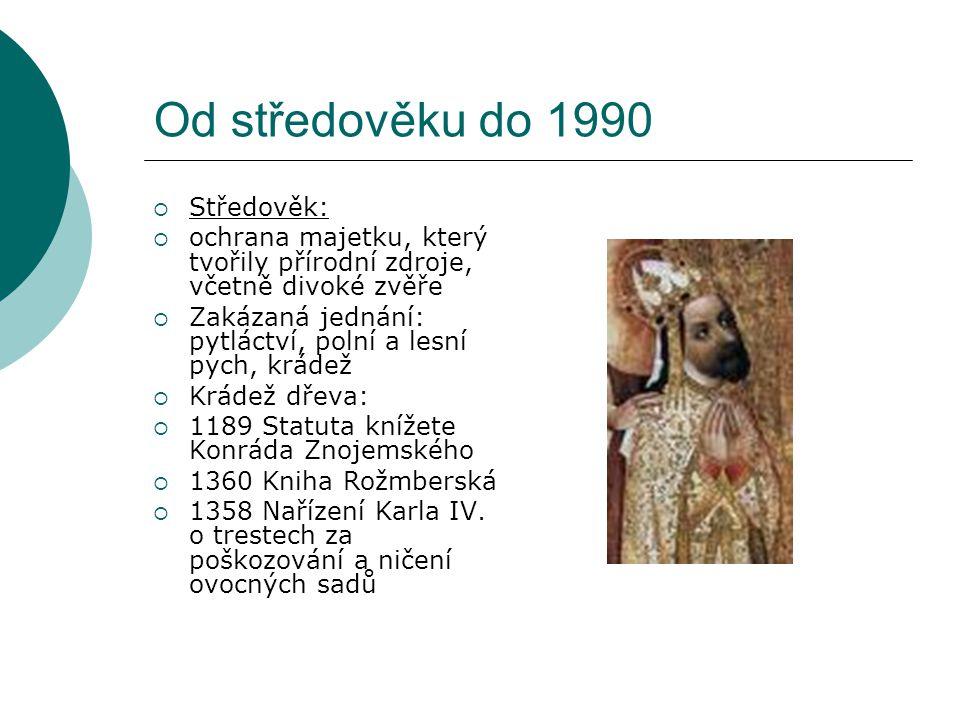 Od středověku do 1990 Středověk: