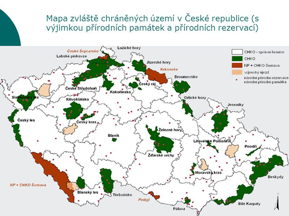 Mapa zvláště chráněných území v České republice (s výjimkou přírodních památek a přírodních rezervací)