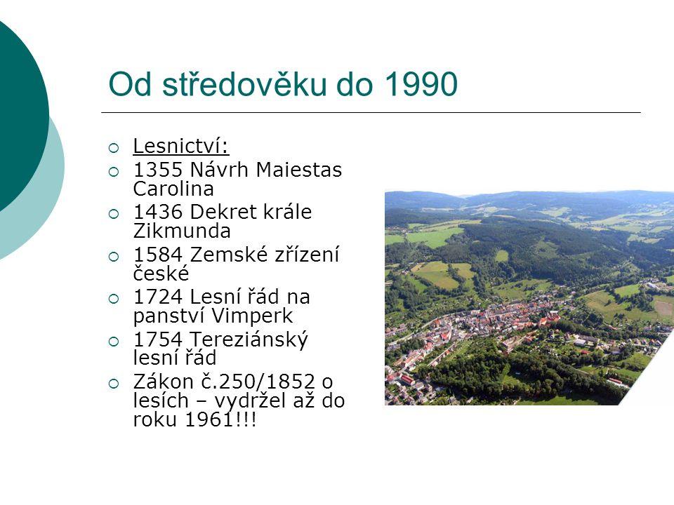 Od středověku do 1990 Lesnictví: 1355 Návrh Maiestas Carolina