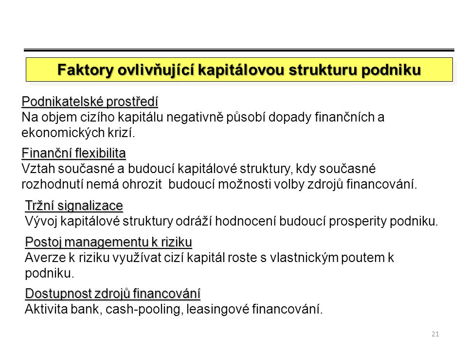 Faktory ovlivňující kapitálovou strukturu podniku