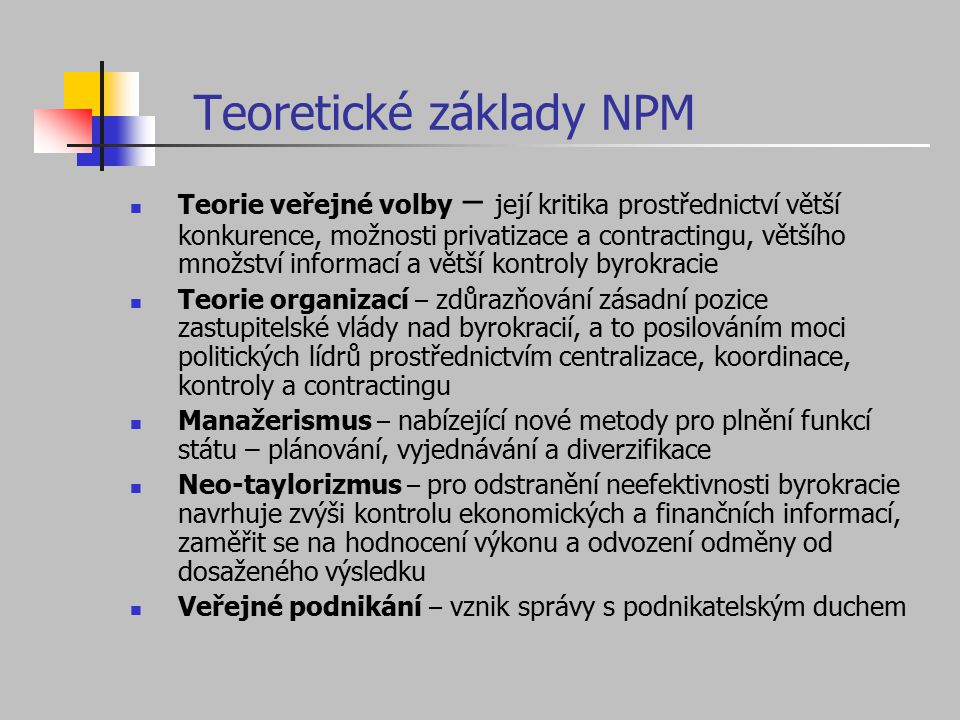 Teoretické základy NPM