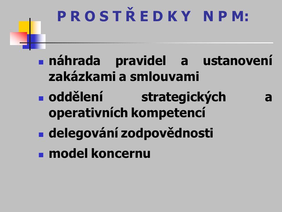 P R O S T Ř E D K Y N P M: náhrada pravidel a ustanovení zakázkami a smlouvami. oddělení strategických a operativních kompetencí.