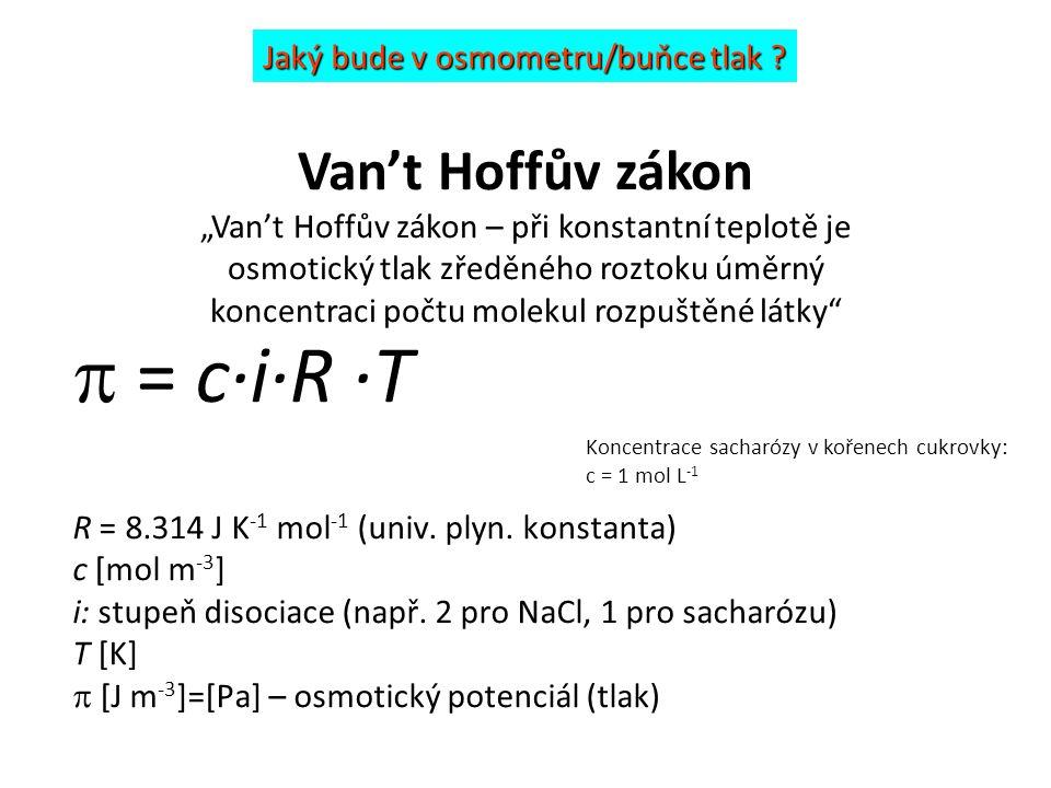  = c·i·R ·T Van't Hoffův zákon Jaký bude v osmometru/buňce tlak