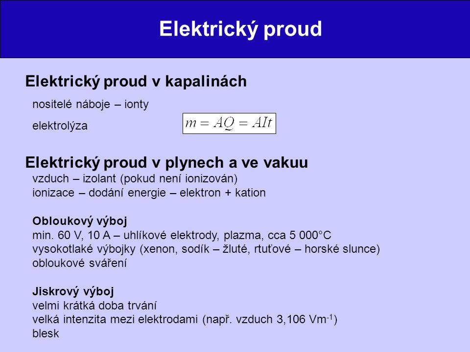 Elektrický proud Elektrický proud v kapalinách
