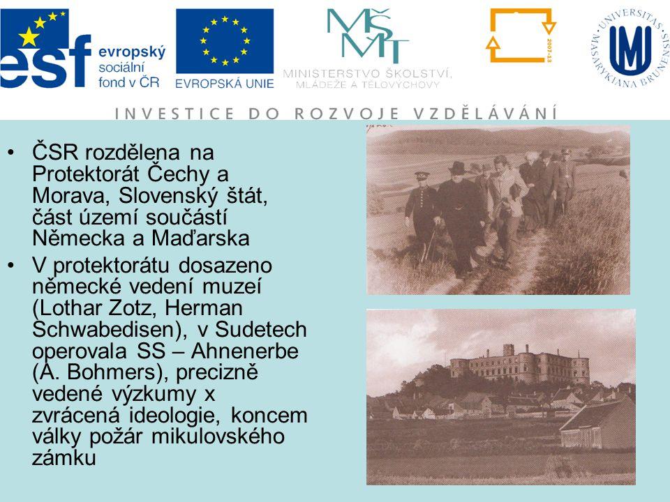 ČSR rozdělena na Protektorát Čechy a Morava, Slovenský štát, část území součástí Německa a Maďarska